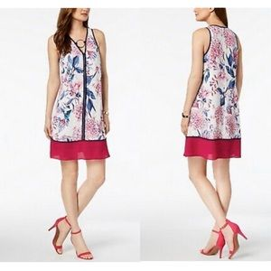 Ivanka Trump Pink Floral Size 2 Ring Dress